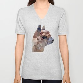 Geometric Alpaca Teddy Unisex V-Neck