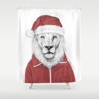 santa Shower Curtains featuring Santa lion by Balazs Solti