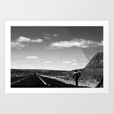 The Lone Wolf in BNW Art Print