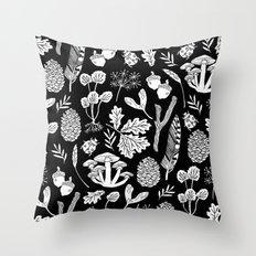Linocut minimal botanical boho feathers nature inspired scandi black and white art Throw Pillow