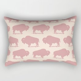 Buffalo Bison Pattern Dusty Rose Rectangular Pillow