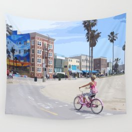 Riding bike in Venice Beach Wall Tapestry