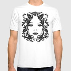 Black and white floral face ornament White Mens Fitted Tee MEDIUM