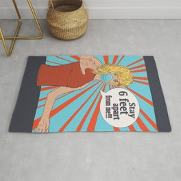 Pop art retro woman in face mask, Stay 6 feet apart from me Rug
