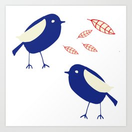 blue bird with fall leaves Art Print