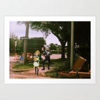 space dandy Art Prints featuring Dandy & adelie (St.petersburg FL) (space dandy) by Jackobi Austin