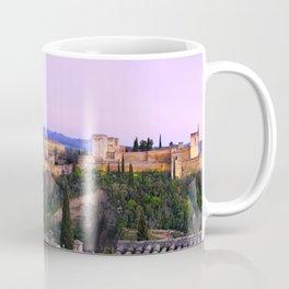 La Alhambra, Sierra Nevada and Granada. At pink sunset Coffee Mug