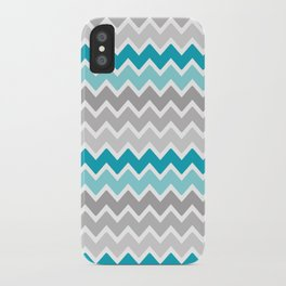 Teal Turquoise Blue Grey Gray Chevron Ombre Fade iPhone Case
