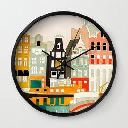 Amsterdam travel city shapes abstract Wall Clock