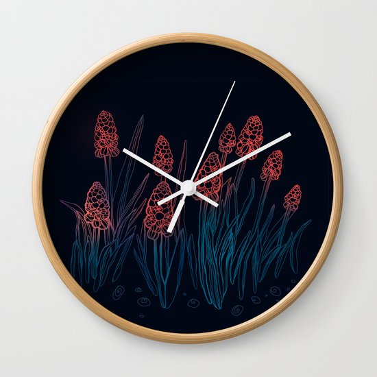 Hyacinths in the night Wall Clock