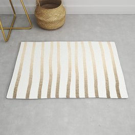 Simply Drawn Vertical Stripes in White Gold Sands Rug