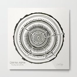 Quaking Aspen – Black Tree Rings Metal Print