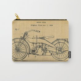 1919 Motorcycle Original Paper Patent Blueprint Carry-All Pouch