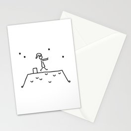 sleepwalker at night on house roof sleep Stationery Cards