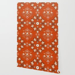 Vintage Floral - Rust Orange Wallpaper