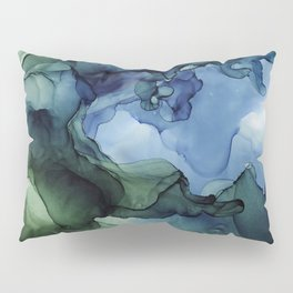 Blue Green Waves Abstract Ink Painting Pillow Sham