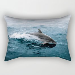 Dolphin in the Atlantic Ocean - Wildlife Photography Rectangular Pillow