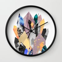 minerals Wall Clocks featuring Crystals by Elisabeth Fredriksson
