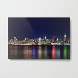 Midtown Manhattan Reflecting on the East River Landscape Painting by Jeanpaul Ferro Metal Print