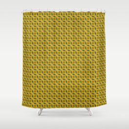 Geometric pattern with interlaced circles in gold Shower Curtain