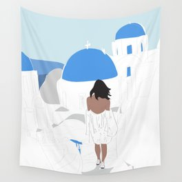 Fashion Girl Wandering the Steps of Santorini, Greece Wall Tapestry