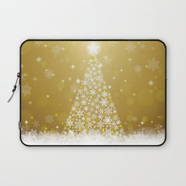 Gold Snowflakes Sparkling Christmas Tree Laptop Sleeve