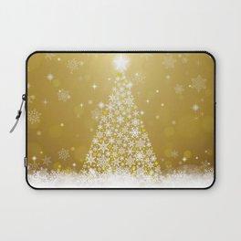Gold Snowflakes Sparkling Christmas Tree Laptop Sleeve