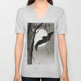 Bat flying under the full Moon - Japanese vintage woodblock print art Unisex V-Neck