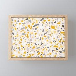 Terrazzo memphis vintage mustard yellow white grey black Framed Mini Art Print