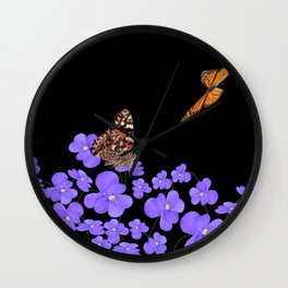 Butterflies & violets Wall Clock