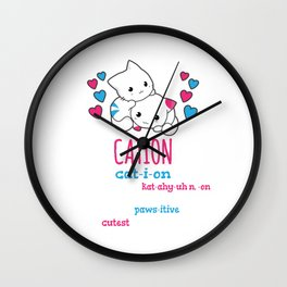 Chemistry Pawsitive Cute Science Cat Cation Element Gift Wall Clock