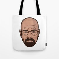 walter white Tote Bags featuring Walter White by Michael Walchalk