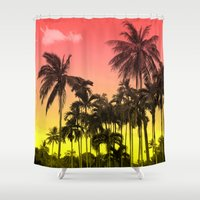 tropical Shower Curtains featuring palm tree  by mark ashkenazi