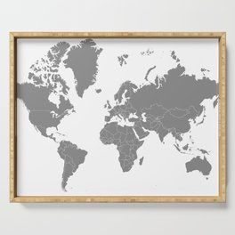 Minimalist World Map Gray on White Background Serving Tray