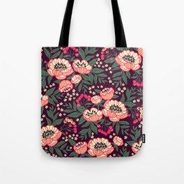11 Floral pattern with peonies.Bright pink flowers. Dark violet background. Tote Bag