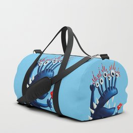 Funny Monster In Blue With Flower Duffle Bag