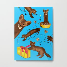 Sables' Christmas Mischief Pattern (Blue Background) Metal Print