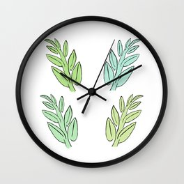 4 Jade Leaves Wall Clock