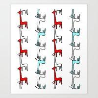 giraffes Art Prints featuring Giraffes by Madeleine Groves