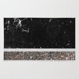 Black and White Marble Silver Glitter Stripe Glam #1 #minimal #decor #art #society6 Rug