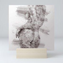 Nude woman pencil drawing Mini Art Print