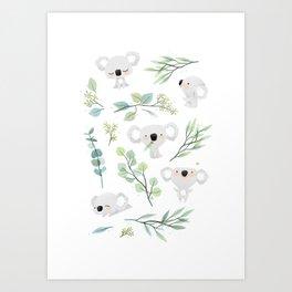 Koala and Eucalyptus Pattern Art Print