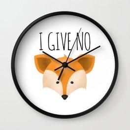 I Give No Fox Wall Clock