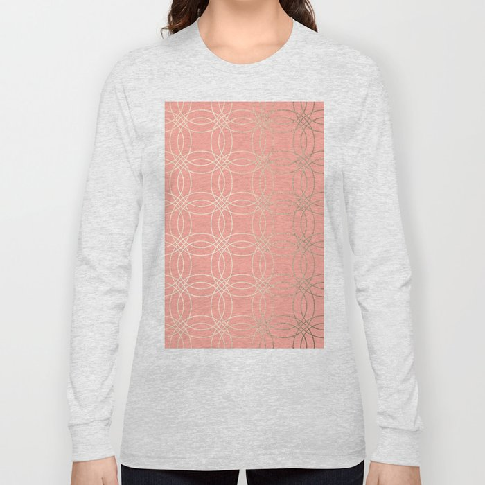 Simply Vintage Link in White Gold Sands and Salmon Pink Long Sleeve T-shirt