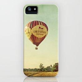 Hot Air Balloon Over Farmland iPhone Case