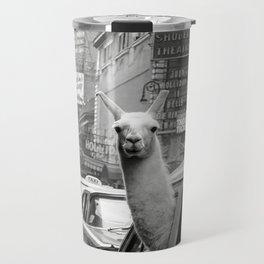 Llama Riding in Taxi, Black and White Vintage Print Travel Mug