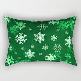 Dark Green Snowflakes Rectangular Pillow