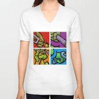 lichtenstein V-neck T-shirts featuring Lichtenstein Pop Martial Art Chelonians Set by Butcher Billy