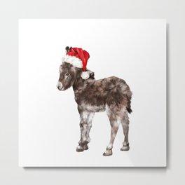 Christmas Baby Donkey Metal Print