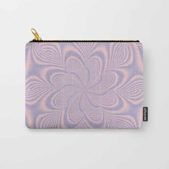 Whirly Bloom Fractal in Rose Quartz and Serenity Carry-All Pouch